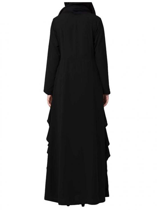 Nida Matte Stylish Abaya With Falling Panels in Black