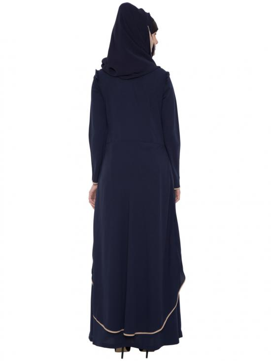 Nida Matte C-Cut Double Layer Abaya in Navy Blue