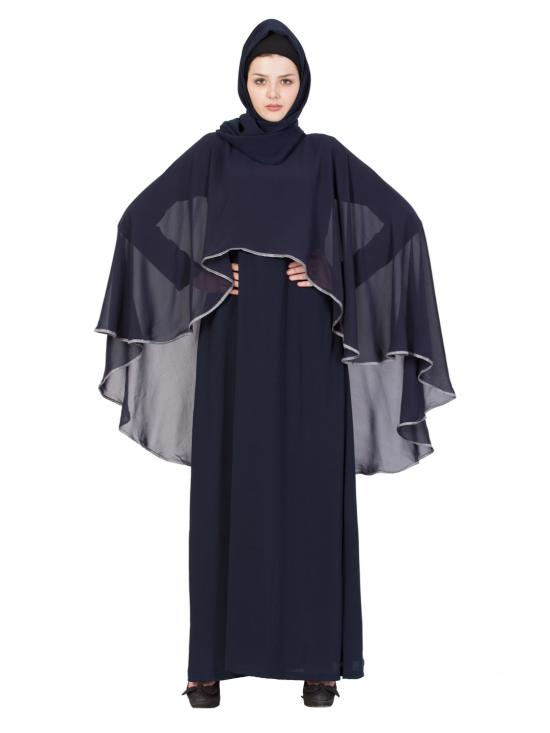 Nida Matte Abaya With Georgette Cape In Navy Blue And Grey