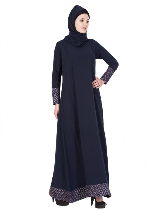 Nida Matte A Line Abaya in Blue and Golden