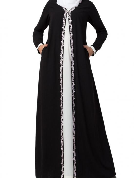 Nida Matte Two Piece Set Of Abaya And Embroidered Cardigan In Off White -Black