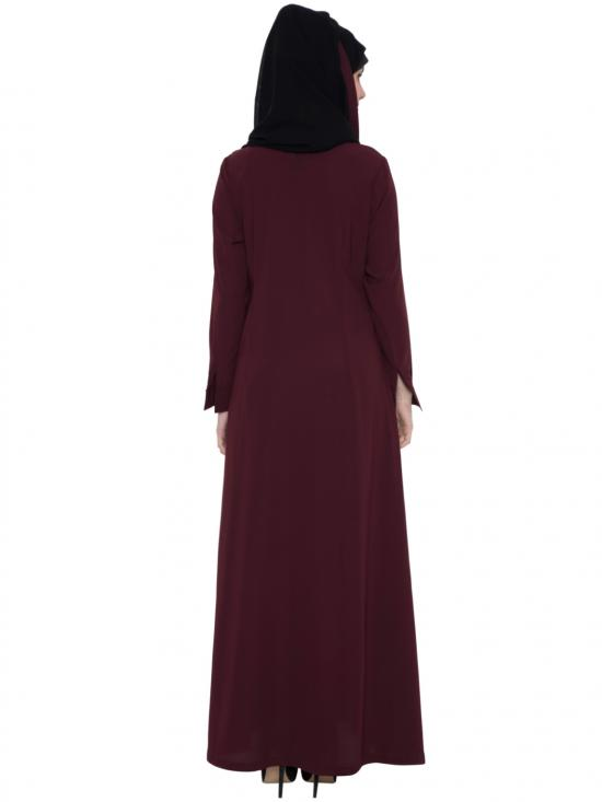 Nida Matte Asia Multi Layered Abaya in Maroon