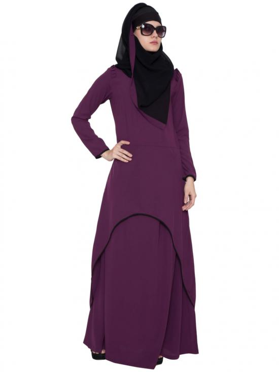 Nida Matte C-Cut Double Layer Abaya In Purple