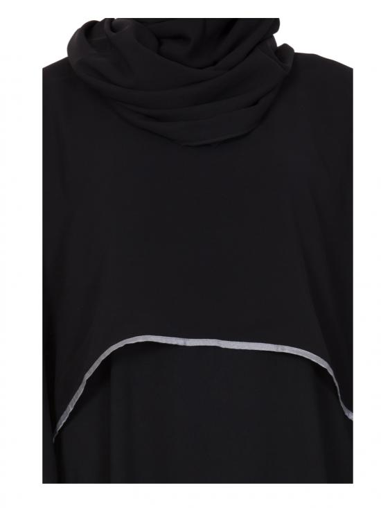 Nida Matte Abaya With Georgette Cape in Black and Grey