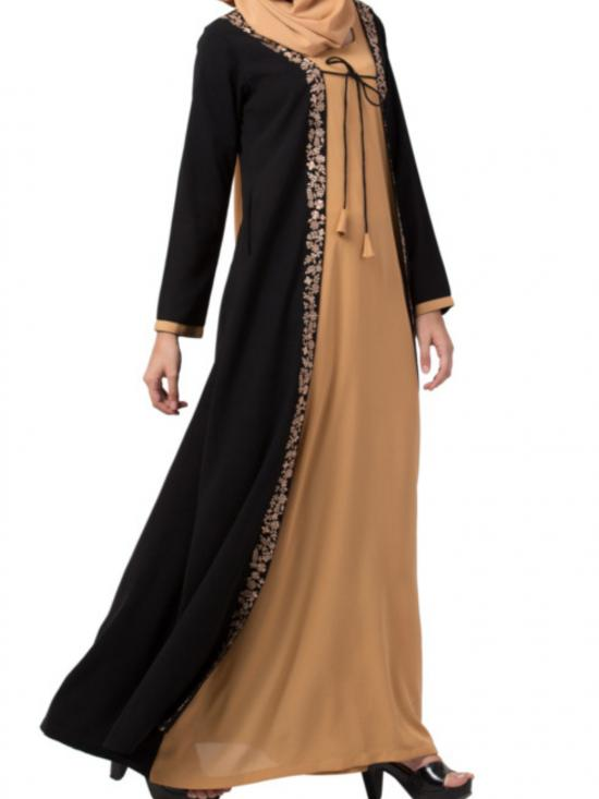 Nida Matte Two Piece Set of Abaya and Embroidered Cardigan in Sand and Black
