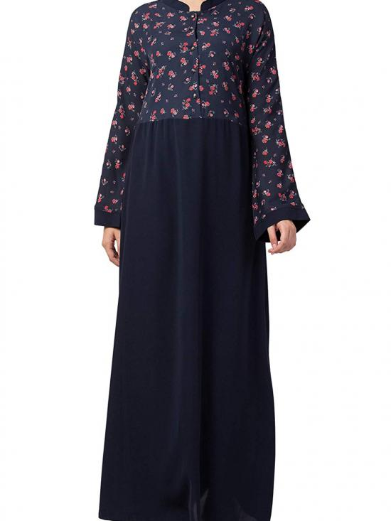 NIda Matte Printed Abaya For Daily Use In Blue And Multy