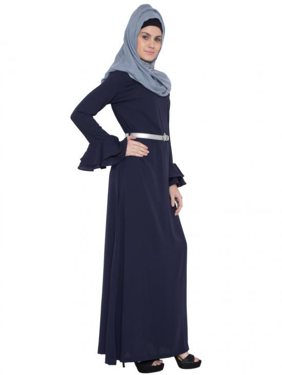 Nida Matte Ruhi Abaya With Bell Sleeves & Matching Belt in Navy Blue