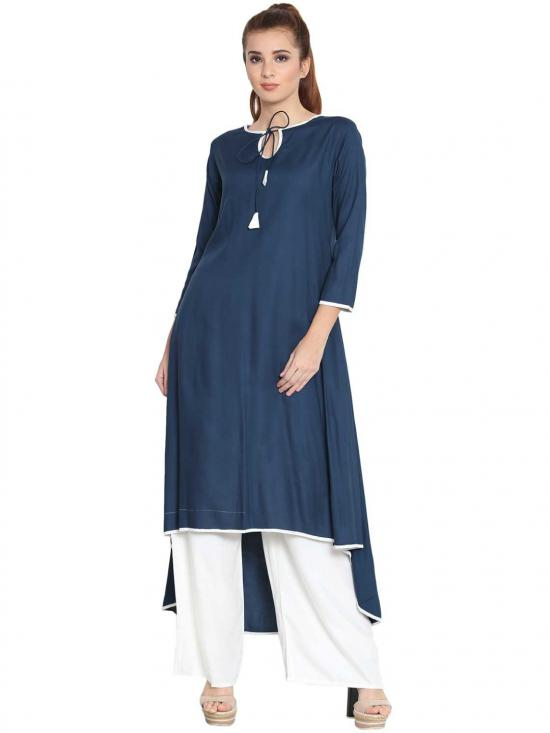 Rayon Soniyo Asymmetrical Kurti in Blue