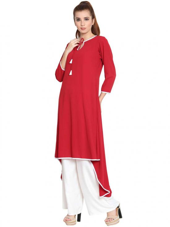Nida Matte Sodiyo Asymmetrical Kurti in Red