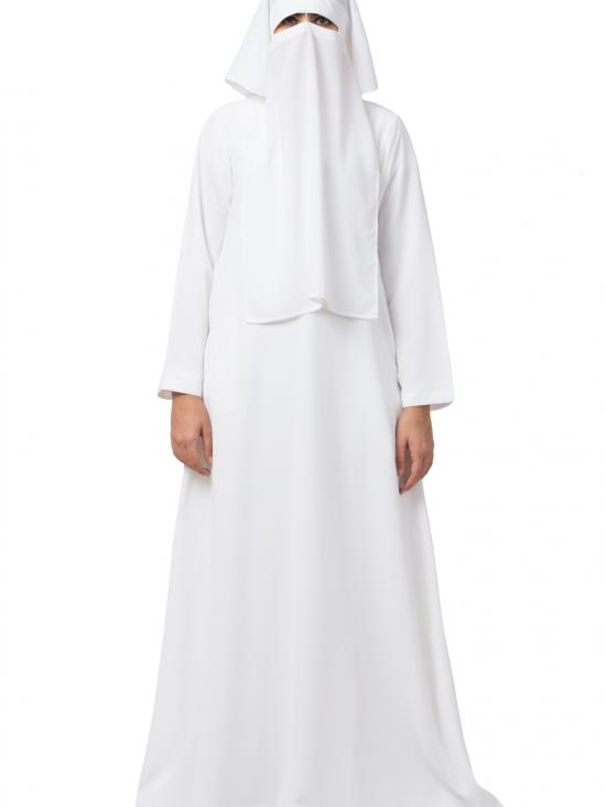 Cotton Abaya And Naquab Combo In White