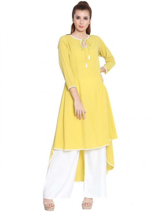 Nida Matte Sodiyo Asymmetrical Kurti In Lemon Yellow