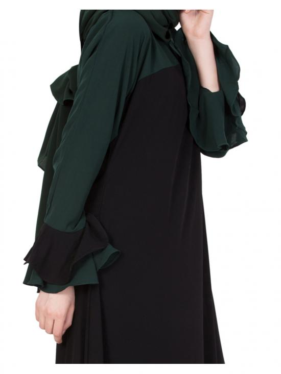 Nida Matte Dual Colour Abaya with Bell Sleeves in Black and Green