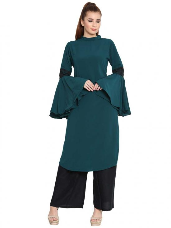 Aaima Nida Matte Bell Sleeves Kurti With Lace Detailing in Dark Green