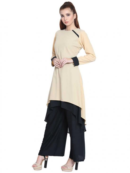 Danya Nida Matte Double Layered Kurti in Beige and Black