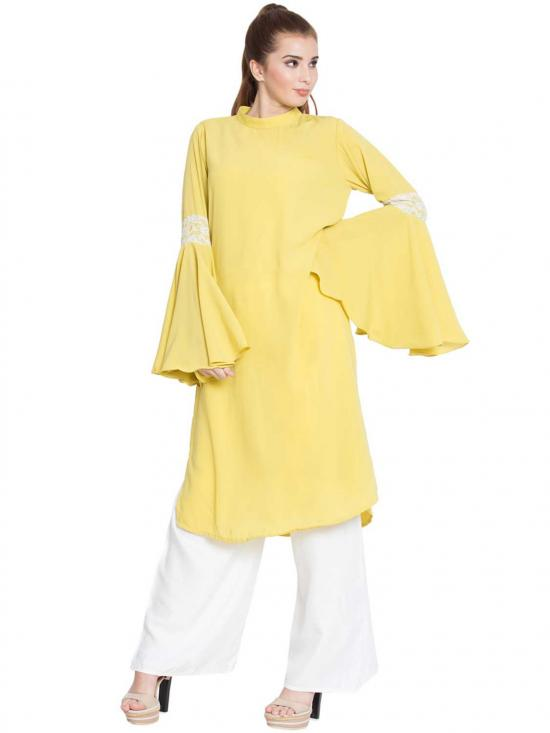 Aaima Nida Matte Bell Sleeves Kurti With Lace Detailing In Lemon Yellow