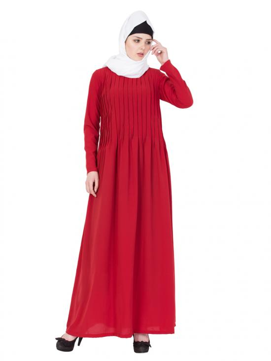 Nida Matte Pintuck Abaya In Red