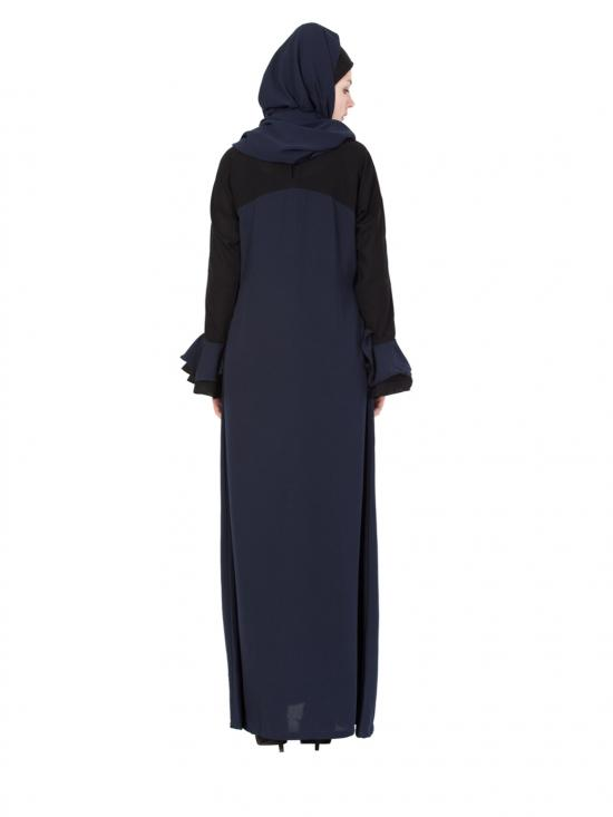 Nida Matte Dual Colour Abaya with Bell Sleeves in Blue and Black