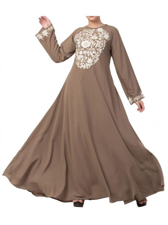 Nida Matte Umbrella Flare Abaya With Matching Embroidery In Oat