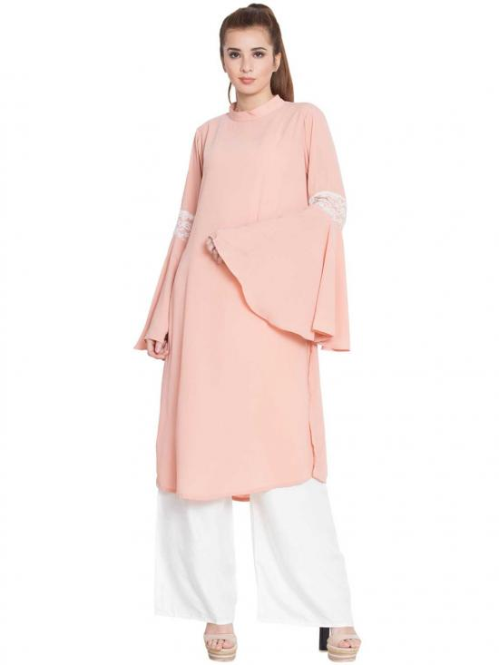 Aaima Nida Matte Bell Sleeves Kurti With Lace Detailing In Pink