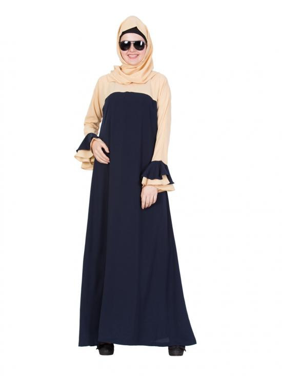 Nida Matte Dual Colour Abaya With Bell Sleeves In Blue And Beige