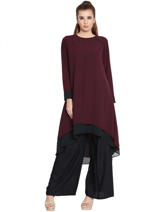 Danya Nida Matte Double Layered Kurti In Maroon And Black