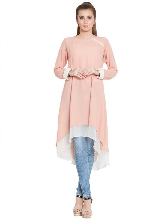 Danya Nida Matte Double Layered Kurti In Pink And Off White