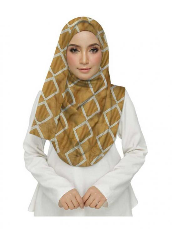 Premium Cotton Designer Zic Zac Grid Hijab in Yellow