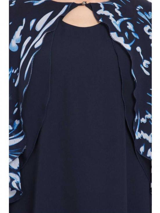 Nida Matte Modest Designer Kurti in Blue and White