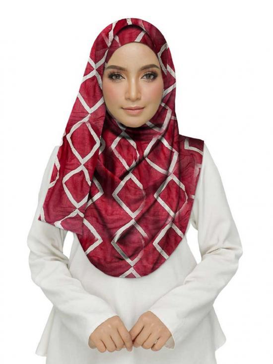 Premium Cotton Designer Zic Zac Grid Hijab in Maroon