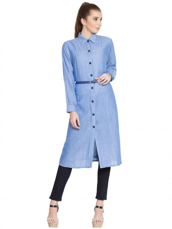Roma Cotton Long Tunic With Belt In Blue