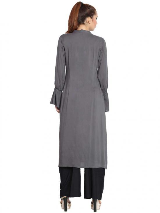 Manah Rayon Bell Sleeves Long Kurti in Grey
