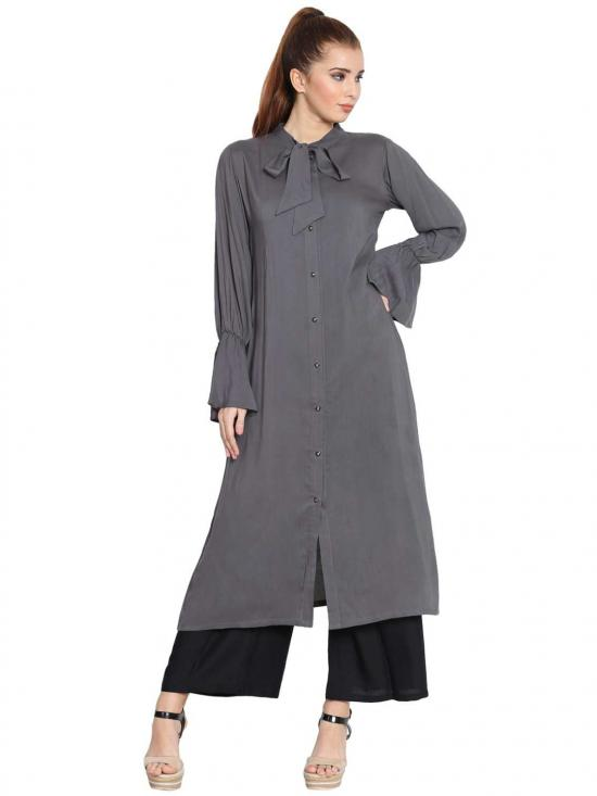 Manah Rayon Bell Sleeves Long Kurti In Grey