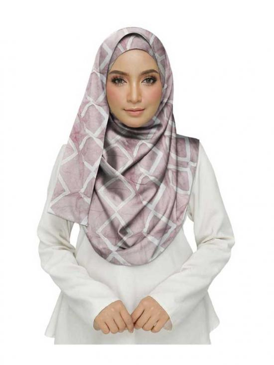 Premium Cotton Designer Zic Zac Grid Hijab in Pink