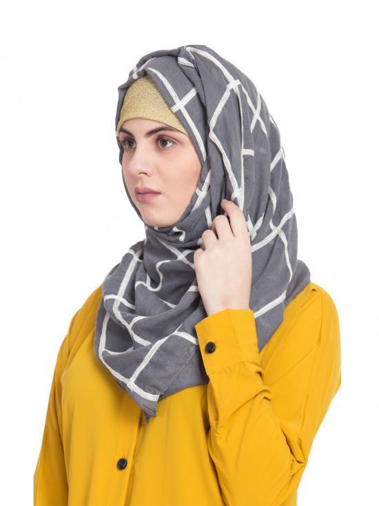 100 % Pure Cotton Designer Grid Hijab in Grey
