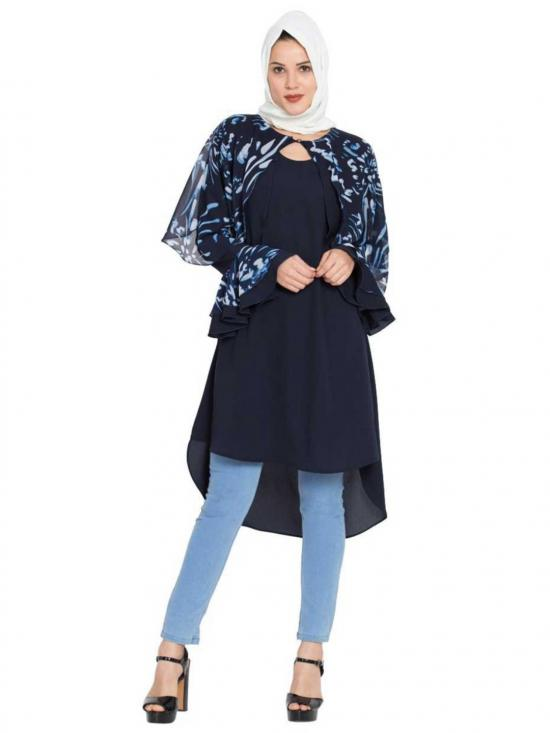 Nida Matte Modest Designer Kurti In Blue And White
