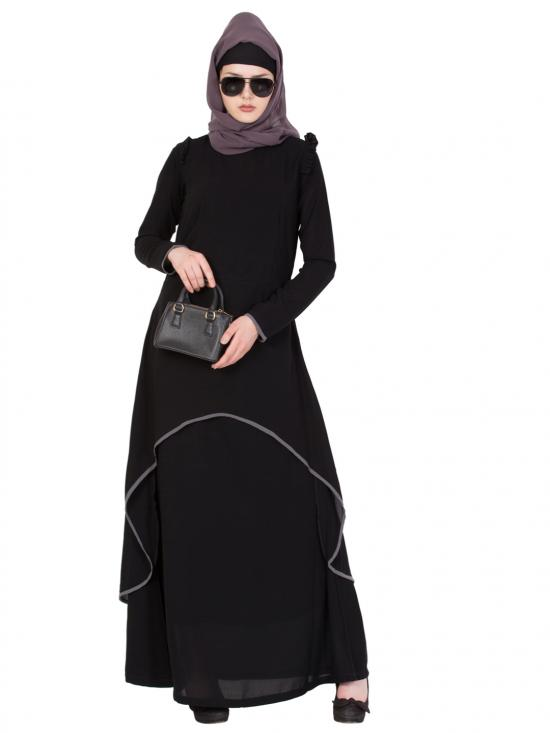 Nida Matte C-Cut Double Layer Abaya In Black