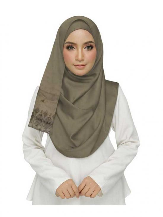 Premium Cotton String Studed Crocia Hijab In Brown