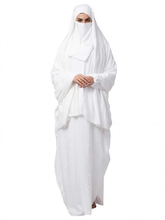 Rayon kaftan and Irani Chadar Combo In White