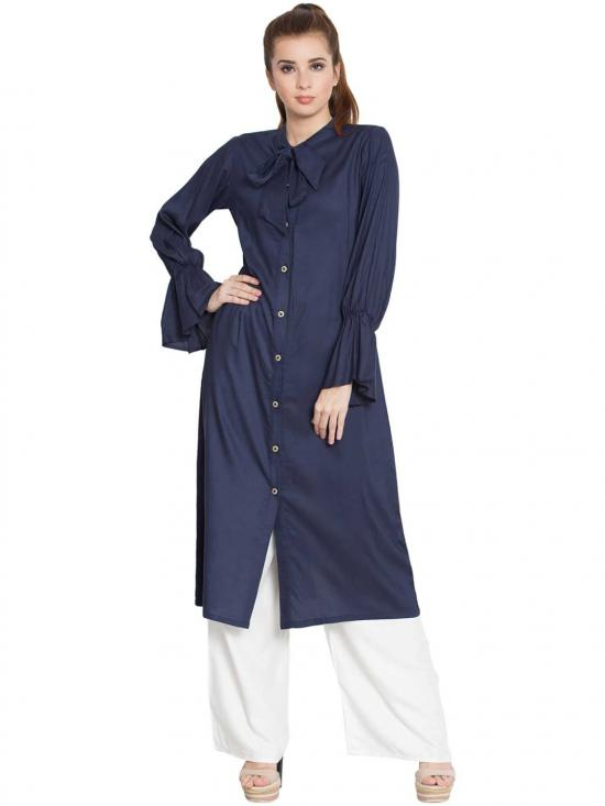 Manah Rayon Bell Sleeves Long Kurti In Blue
