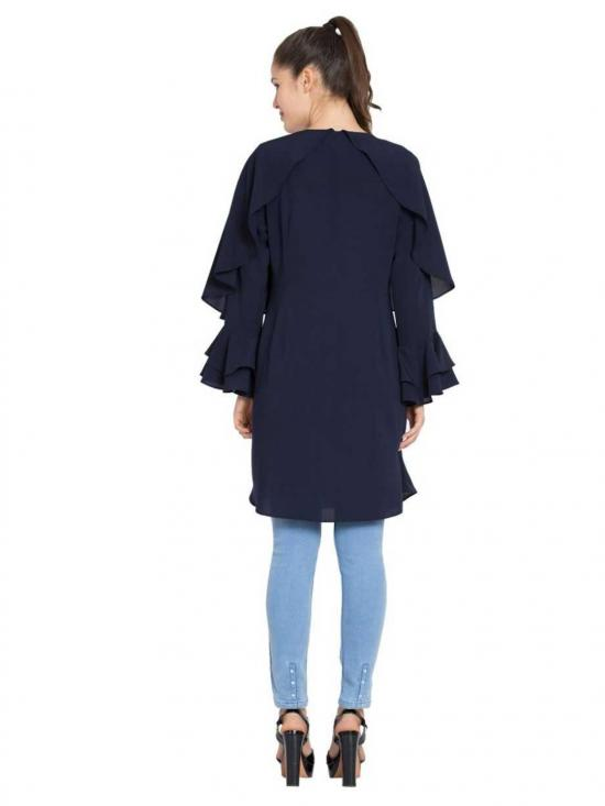 Nida Matte Modest Designer Kurti in Navy Blue