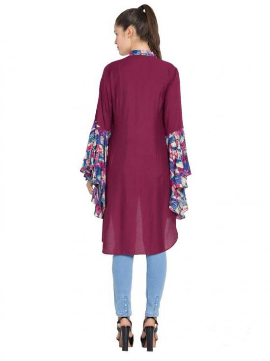 Rayon Giant Bell Sleeves Kurti in Purple