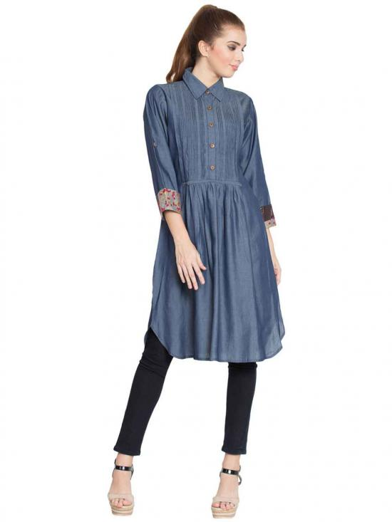Silk Denim Nisa Pintuck Tunic In Blue