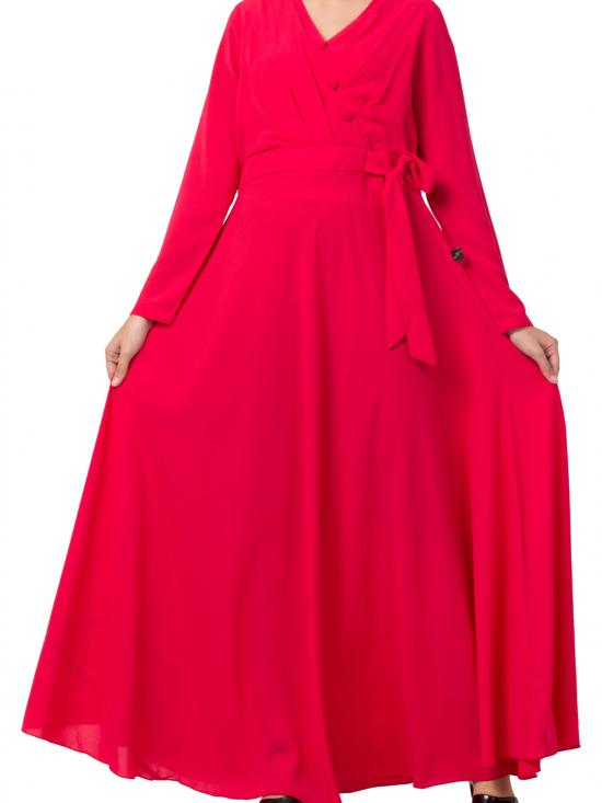 Mushlkiya Nida Matte Modest Dress For Fashion Lovers In Magenta