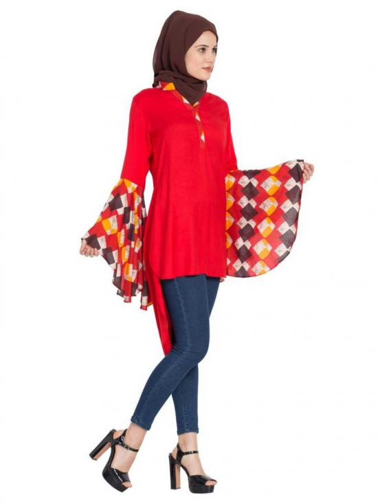 Rayon Giant Bell Sleeves Kurti in Red