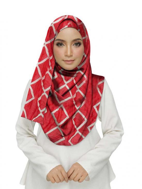 Premium Cotton Designer Zic Zac Grid Hijab In Red