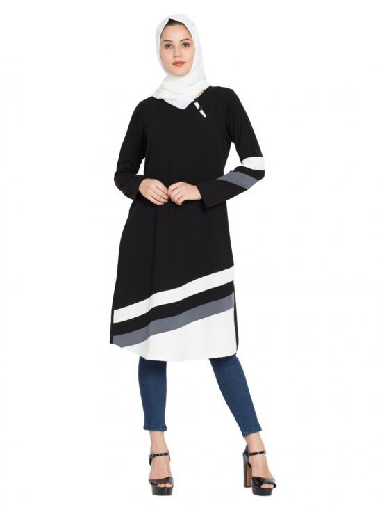 Nida Matte Designer Striped Kurti in Black