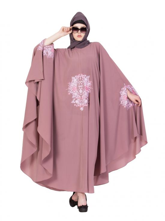 Nida Matte Embroidered Irani Kaftan in Puce Pink