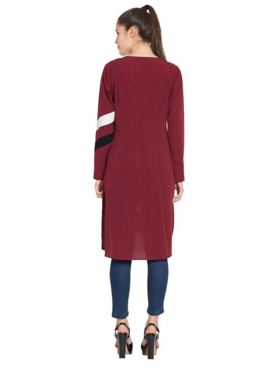 Nida Matte Designer Striped Kurti in Maroon