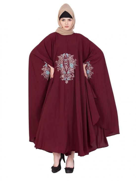 Nida Matte Embroidered Irani Kaftan in Maroon