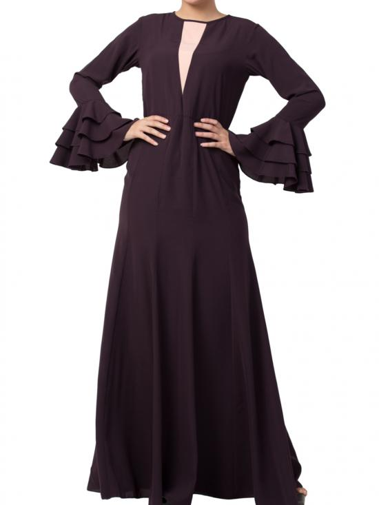 Nida Matte Slim Fit Dress With Multi Layered Bell Sleeves In Dark Purple